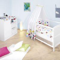 Babyzimmer-Set: Wickelkommode & Babybett HAMBURG, weiß