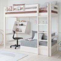 Flexa Classic Hochbett CASA, inkl. Gästebett, Schreibtisch und Sofa-Textilien, 90x200cm, schräge oder gerade Leiter