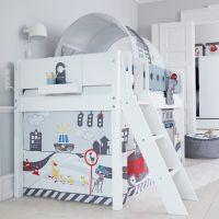 """Flexa halbhohes Bett """"White"""" 90 x 200 cm Höhe: 120 cm mit schräger Leiter"""