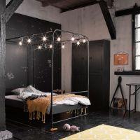 Metall Himmelbett schwarz 120 x200