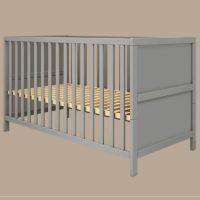 Flexa Babybett LUNA, 70x140cm, grau, glatt