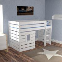 Hochbett - Hüttenbett BEACH, weiß, umbaubar zum Einzelbett