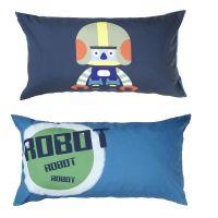 Manis-h 2er Set Längskissen ROBOT, wendbar,  50 x 90 x 20cm, blau, grün