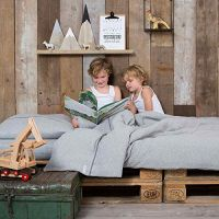 Kinder Bettwäsche LITTLE DUTCH grey melange 100% Baumwolle 135x200 / 80x80 cm