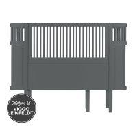 Sebra Bett - Babybett / Kinderbett, grau, oval, ausziehbar