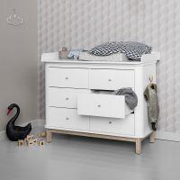 Oliver Furniture Wickelkommode WOOD COLLECTION mit großer Wickelplatte und 6 Schubladen, Eiche, weiß