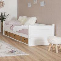 Smart Line Tagesbett mit 3 Schubläden, weiß/eiche