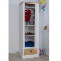 Smart Line 1 türiger Kleiderschrank mit Schublade, weiß/eiche
