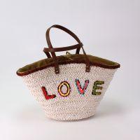 Strandtasche LOVE, weiß mit Pailetten, Korb, 54x26x30cm