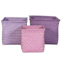 3er Set Flechtkörbe / Aufbewahrungsboxen GIRL, Sebra, lila-flieder-rosa