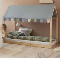 Flexa Hausbett Cottage 90x200cm (Natur) mit Dach und Girlande in Frisy Blue