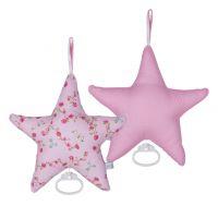 Spieluhr STARS, Sternform, rosa, Baumwolle mit Fleecefüllung, 26x24cm