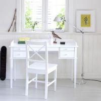 Oliver Furniture Schreibtisch mit 5 Schubladen, weiß, 116x50cm