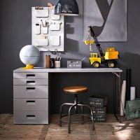 Kinderschreibtisch / Schreibtisch BUNKY, Massivholz Kiefer + Metall, grau