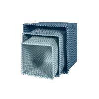 3er Set Flechtkörbe / Aufbewahrungsboxen BOY, Sebra, blau pastell