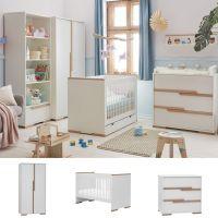 3-tlg. Babyzimmer SCANDI weiß - Buche: Babybett 140x70cm + Wickelkommode + 2trg. Kleiderschrank