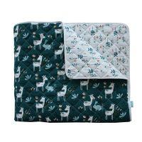Zweiseitige Steppdecke Reh, Bambi, Deer, Sommerdecke,  Bettüberwurf, Tagesdecke  / Plaid Green-White / Grün-Weiß  100% Baumwolle, 125x210cm