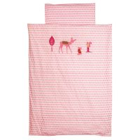 Bettwäsche ROSA REH, aufwendige Verzierung, rosa, 200 x 135cm/ 80x80cm