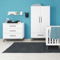 Bopita Kleiderschrank Kinderkleiderschrank LEVI 2-türig weiß grey-wash