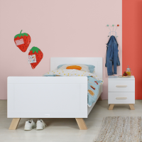 BOPITA Kinderbett LISA, 90x200cm, weiss/buche