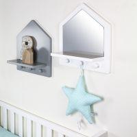 BOPITA BABYFLEX Regalbrett mit Spiegel und 3 Garderobenhaken, weiß