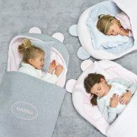 Handgefertigter Kinderschlafsack inkl. Kissen und aufgesticktem Namen