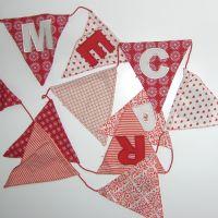 Flaggen / Wimpelkette X-MAS, Merry Christmas, Baumwolle, rot-weiß