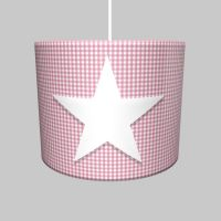 DANNENFELSER Hängelampe DELUXE STAR, Vichy Karo, rosa, Filz Stern Applikation, ∅ 35cm