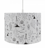Kinderlampe / Kinderzimmerlampe Indianer , schwarz auf weiß∅ 35cm