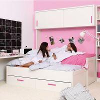 Asoral Kompaktbett / Kinderbett LISO MOVIL inkl. Gästebett + 2 Schubladen, Massivholz