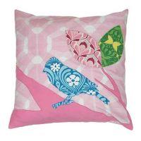 Kissen mit Füllung Dekokissen Motiv: PATCHWORK VOGEL rosa, 50x50cm