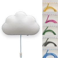Wandlampe / Softlicht NUBE, handgenäht, verschieden farbige Nähte/Kabel
