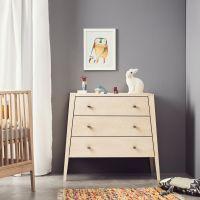 Leander Design Kommode LINEA, 3 Schubladen, Holz, Eiche