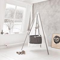 Leander Babywiege / Wiege mit Stativ + Matratze, grau