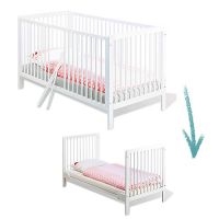 Babybett / Juniorbett LENIE, weiß, Massivholz, wandelbar, 70x140cm
