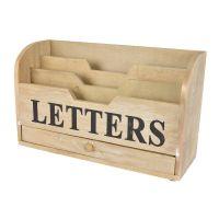 Briefhalter LETTERBOX mit Schublade, Holz, 30x18x11cm