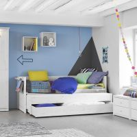 LIFETIME Kinderbett / Kojenbett mit Gästebett + Bettschublade, Massivholz, 90x200cm