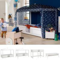 LIFETIME 4-in-1 Kinderbett / Hochbett / Himmelbett / Jugendbett,  Massivholz, 90x200cm