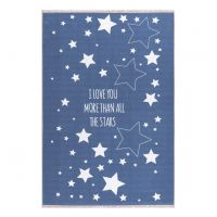 Kinderteppich / Teppich STARS, blau, waschbar, 100x160cm / 140x190cm