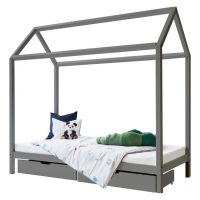 Kinderbett / Hausbett BASIC House Bed, 90x200cm, grau
