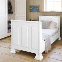 Opsetims Jungsbett Kinderbett Einzelbett Tagesbett THOMAS Massivholz inkl. Lattenrost weiß lackiert 90 x 200 cm