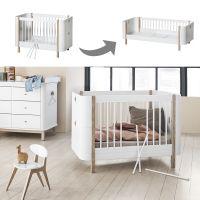 Oliver Furniture WOOD MINI+ BASIC Set Babybett umbaubar zum Juniorbett Weiss-Eiche 122-162x74cm