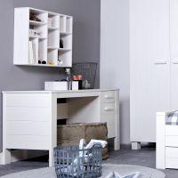 Kinderschreibtisch / Schreibtisch REMI, Massivholz Kiefer, weiß
