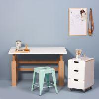 MANIS-H Schreibtisch / Holzschreibtisch, Weiß-Buche, höhenverstellbar