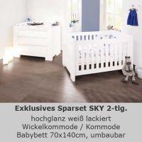 Kinderzimmersparset SKY, 2-tlg, hochglanz weiß, Babybett, Wickelkommode