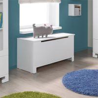 Spielzeugkiste / Truhe MINI, Massivholz Pinie, MDF, weiß, Breite 99cm
