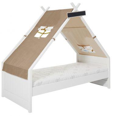 Hochbett Design BENSON Multifunktionsbett mit Treppenregal, Massivholz weiss-natur, 90x200cm, Höhe: 144cm