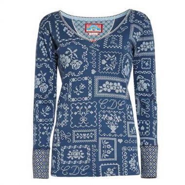 PIP Studio HOMEWEAR Langarm Shirt TRIX CROSS STITCH, blau