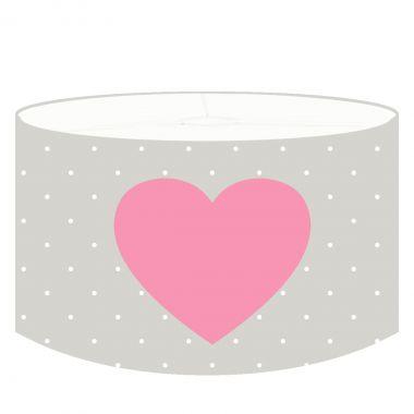 DANNENFELSER Kinder Hängelampe HEARTROSE grau-weiß gepunktet, Herz rosa, Ø 35cm