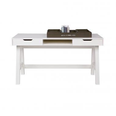 Schreibtisch NICKI, 2 Schubladen, Holz Kiefer gebürstet, weiß